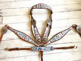Multi Colored Navajo Diamond Pattern Tack Set