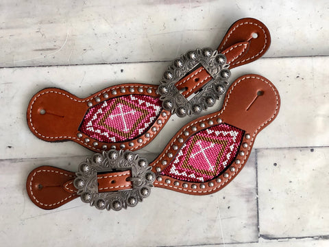 Pink Cross Beaded Inset Spur Straps