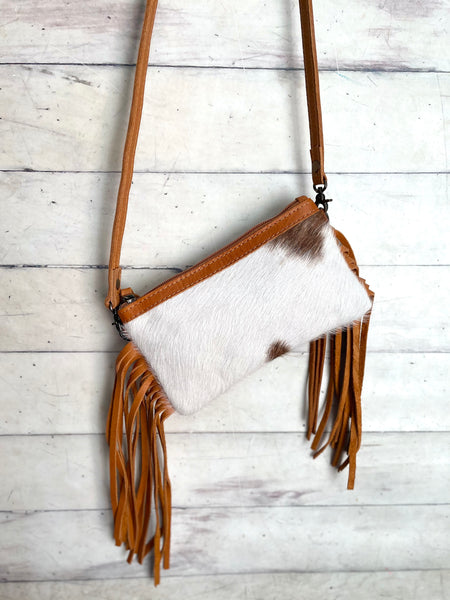 """Small Fry"" Tan (Camel Color) Cow Hide Fringe Bag"