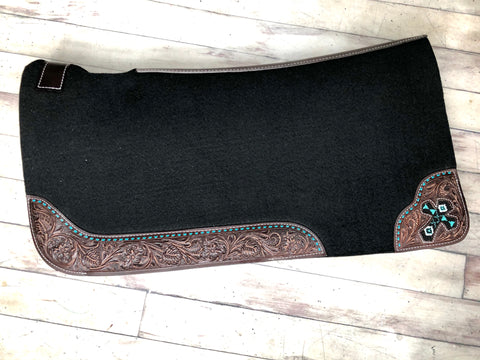 Tooled Teal Buck Stitch Saddle Pad with Beaded Cross Inlay