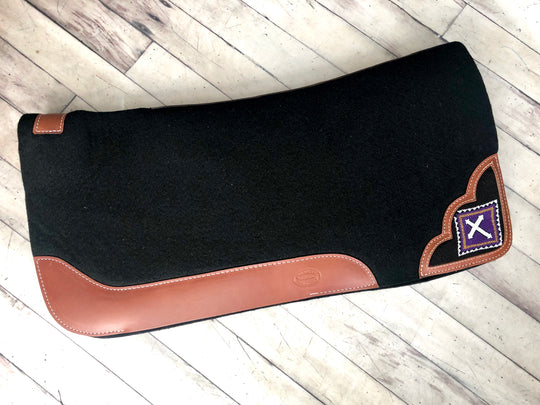 "Purple Cross Beaded Inset Felt 1"" Saddle Pad"