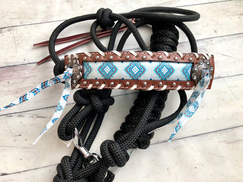 Blue Diamond Leather White Buck Stitch Knot Halter