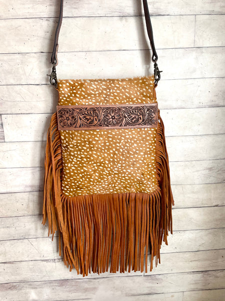 Deer Hide Leather Tooled Band Crossbody Bag