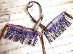 Purple and Silver Metallic Mermaid Fringe Tack Set
