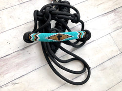 Teal & Gold Beaded Diamond Cowboy Knot Halter
