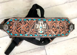 Leather Tooled Cross Hair on Hide Inset - Bronc Halter