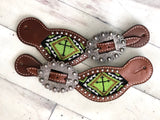 Green (Lime) Cross Beaded Inset Spur Straps