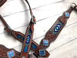 Royal Blue Beaded Inlay Crystal Concho Set
