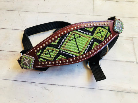 lime beaded bronc halter