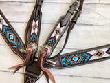 Blue, Gold and White Beaded Dark Leather Tack Set