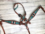 Teal Green Filagree Inlay With Painted Cross & Wings