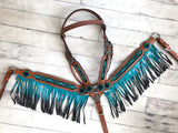 Turquoise and Black Ombré Leather Fringe Tack Set