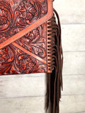Envelope Whipstitch Leather Tooled Fringe Handbag