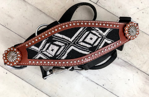 Black and White Beaded Bronc Halter
