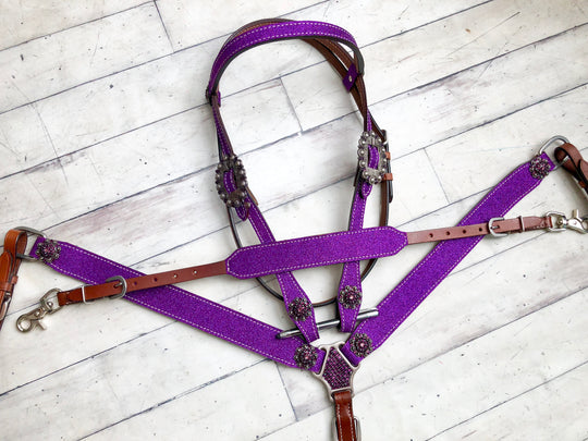 Purple Glitter 3 Piece Tack Set