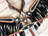 Black and White Stingray Fringe Tack Set