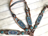 Light Blue Burgundy Beaded Inlay Tooled Tack Set