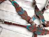 Teal Painted Feather Wither Strap