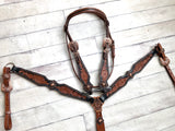 Two Tone Leather Tooled Copper Concho Set