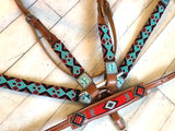 Teal Black and Red Diamond Beaded Tack Set