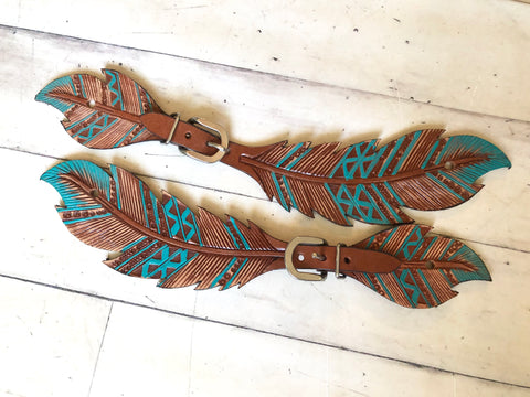 Ladies Teal Feather Cut Out Spur Straps