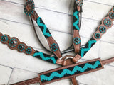 Black and Teal Zig Zag Beaded Wither Strap
