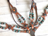 Turquoise/ Mint and Orange Beaded Overlay On Cut-Out Medium Leather Tack Set