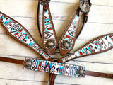 Teal and Brown Aztec Pattern Wither Strap with Conchos