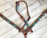 Aztec Beaded - Teal, Orange with Black and White Tack Set