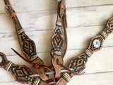 Rawhide Wrapped Aztec Tooled Design Leather Set