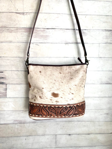 Hide Leather Paisley Tooled Crossbody Bag
