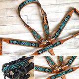 Turquoise and Black Beaded Aztec Tack Set