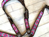 Fuchsia Pink and Blue Beaded Tack Set on Chocolate Leather