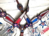 Red White & Blue Star Fringe Tack Set