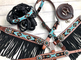 Teal and Gold Diamond Cross Beaded Fringe Tack Set