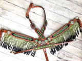 Lime Green Ombre Fringe Beaded Tack Set