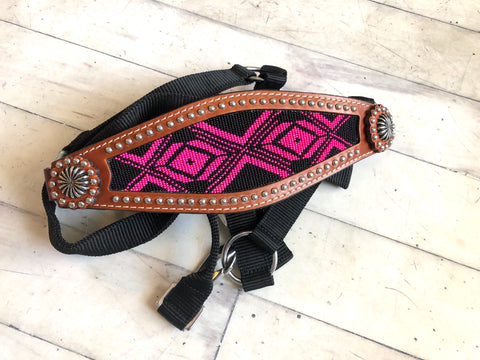 Pink / Fuchsia and Black Beaded Bronc Halter