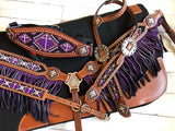 Purple Beaded Ombre Fringe Complete Set with Bronc Halter