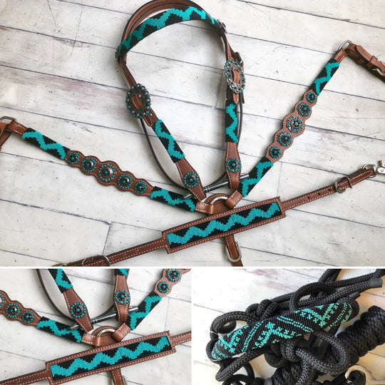 Turquoise and Black Beaded Tack Set