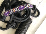 Purple Beaded Cross Rope Knot Halter