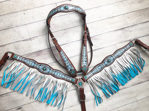 Frozen Diamond Teal Blue Ombre Fringe Tack Set