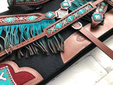 Teal Beaded Ombre Fringe Complete Set
