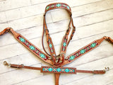 Teal & Brown Beaded Inset Tack Set