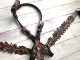 Tooled Dark Leather Feather W/ Copper Accents