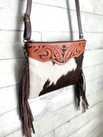 Brown Hide Scroll Tooled Leather Fringe Square Handbag