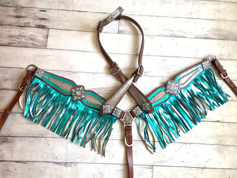 Teal and Silver Metallic Mermaid Fringe Tack Set