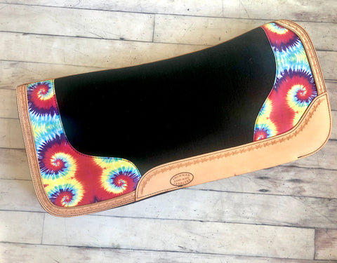 Tie Dye Argentina Leather Felt Bottom Saddle Pad