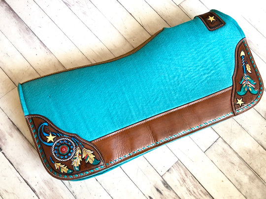 Turquoise Feather Dream Catcher Tooled Hand Painted Saddle Pad