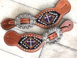 Purple Cross Beaded Inset Spur Straps