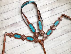 Teal Filagree w/ Large Square Copper Conchos